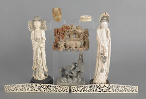Group of Chinese carved ivory and stone