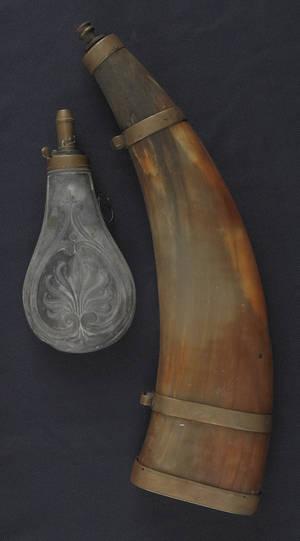 Brass mounted powder horn