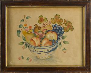 Oil on velvet theorem of a bowl of fruit