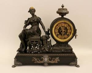 Late 19th C American Spelter Cased Mantle Clock