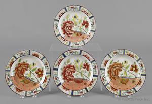 Four Gaudy Dutch oyster pattern plates 19th c