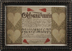 Unusual watercolor and ink fraktur dated