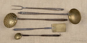 Assembled fivepiece wrought iron and brass utensil set 19th c