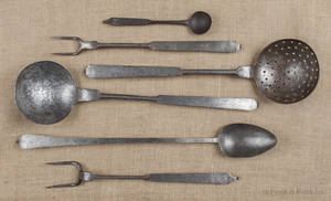 Six wrought iron utensils 19th c