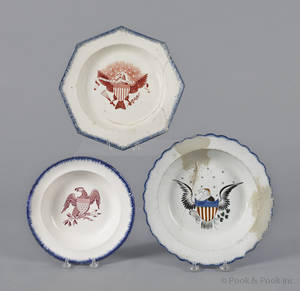 Three eagle decorated blue feather edge shallow bowls 19th c