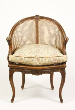 French Louis XV Style Caned Bergere Chair