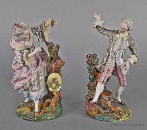 Pair of Continental bisque courting figures