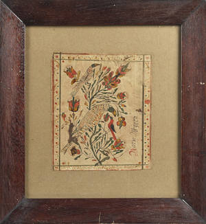 Pennsylvania watercolor and ink fraktur drawing of birds early 19th c