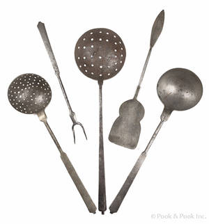 Three York County Pennsylvania decorated wrought iron utensils 19th c