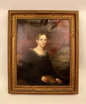 Amer 19th C Oil on Canvas Portrait