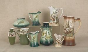 Nine pieces of Haynes Pottery