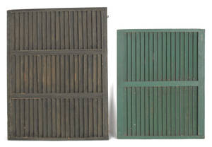 Two painted pine louvered fire screens