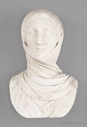Italian carved marble bust of a woman late 19th c