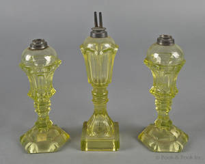 Pair of vaseline sandwich glass fluid lamps ca 1850