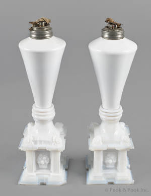 Pair of milk glass whale oil lamps mid 19th c