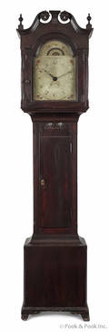 Pennsylvania Chippendale stained poplar tall case clock