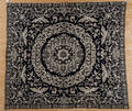 Blue and white jacquard coverlet dated