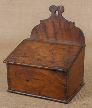 Mahogany hanging salt box early 19th c