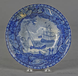 Historical blue Staffordshire Cadmus soup bowl 19th c