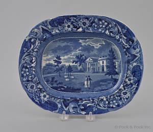 Historical blue Staffordshire Woodland near Philadelphia small platter 19th c