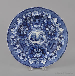 Historical blue Staffordshire Washington and Lafayette medallion plate 19th c