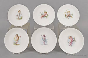 Set of six Minton plates