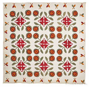 Appliqu crossed tulip quilt late 19th c