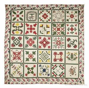 Appliqu chintz and cotton friendship quilt dated