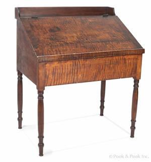 Pennsylvania Sheraton tiger maple work desk ca 1840