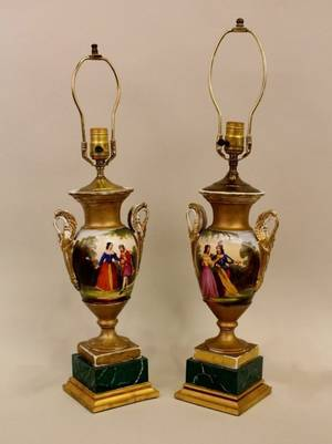 Pair of 19th C French Porcelain Old Paris Urn Lamps