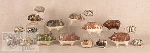 Collection of redware pig penny banks