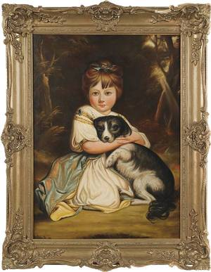English oil on canvas portrait mid 19th c