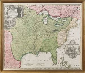 JB Homanno color engraved map of North America