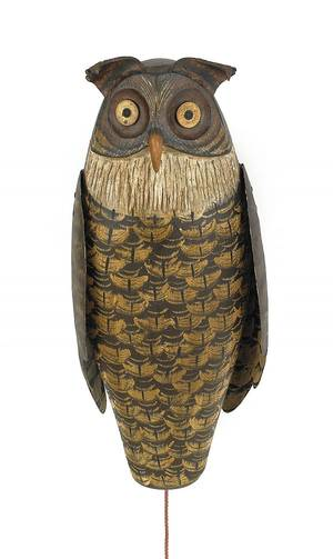 Contemporary carved and painted owl decoy by Russ Allen