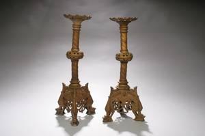 Pair of Bronze Ecclesiastic Candlesticks