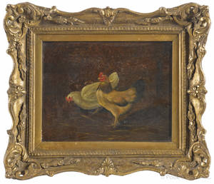 Pair of English oil on canvas works of chickens