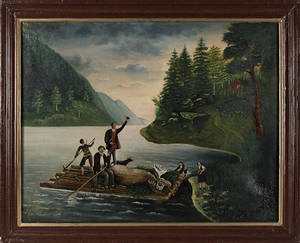 Hudson Valley oil on canvas river scene 19th c