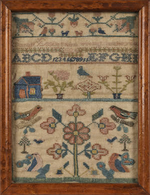 Pair of silk on linen samplers dated