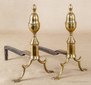 Pair of American Federal brass lemon top andirons ca 1815