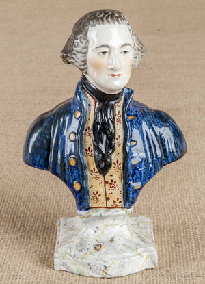 Attributed to Ralph Wood Staffordshire bust of George Washington ca 1800