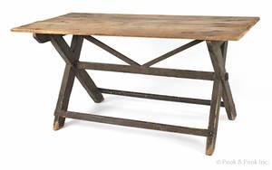 New England pine sawbuck table early 19th c