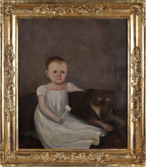 American oil on canvas portrait of a young boy with a dog ca 1830