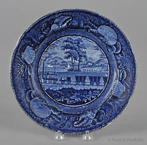 Historical blue Staffordshire Baltimore and Ohio railroad plate 19th c