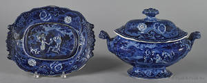 Blue Staffordshire covered tureen 19th c