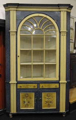 Pennsylvania painted pine architectural corner cupboard