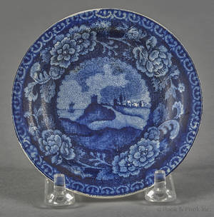Historical blue Staffordshire Quebec cup plate 19th c
