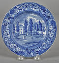 Historical blue Staffordshire Hoboken New Jersey plate 19th c