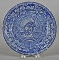 Historical blue Staffordshire Arms of Rhode Island plate 19th c
