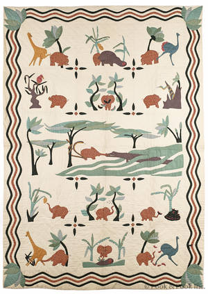 Appliqu quilt with African animals