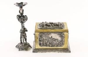 Brass Tea Caddy w Relief  Figural Candlestick
